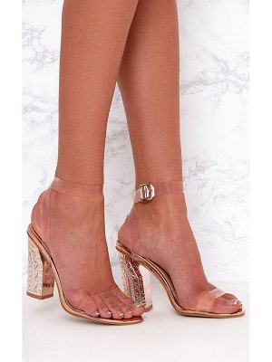 PrettyLittleThing rose gold clear strap ornate heels