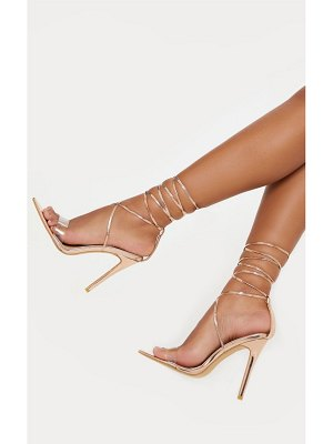 PrettyLittleThing rose gold clear strap point toe barely there sandal