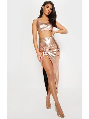 PrettyLittleThing rose gold cut out knot detail midi dress