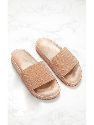 PrettyLittleThing rose gold diamante embellished slides