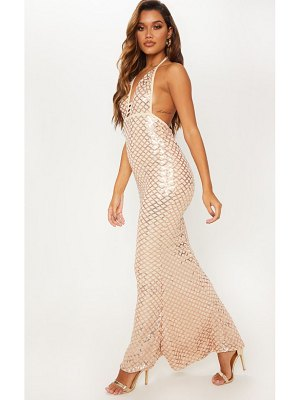 PrettyLittleThing rose gold diamond sequin halterneck fishtail maxi dress