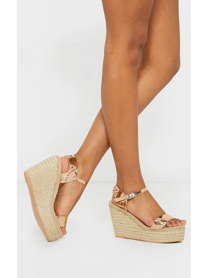 PrettyLittleThing rose gold espadrille wedge sandals