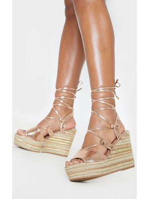 PrettyLittleThing rose gold ghillie lace up espadrille wedge sandal