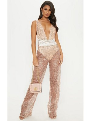 PrettyLittleThing rose gold glitter plunge belt detail jumpsuit