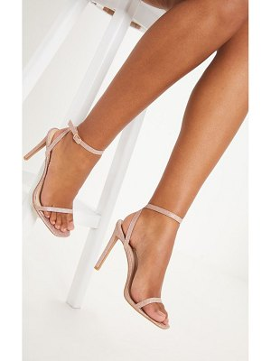 PrettyLittleThing rose gold glitter single strap sandal