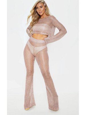 PrettyLittleThing rose gold knit beach flares
