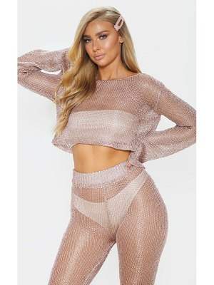 PrettyLittleThing rose gold knit beach top