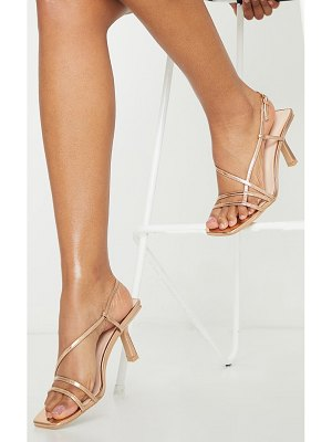 PrettyLittleThing rose gold low heel strappy sandals