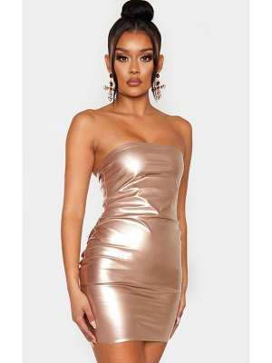PrettyLittleThing rose gold metallic bandeau bodycon dress