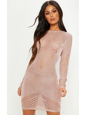 PrettyLittleThing rose gold metallic knitted long sleeve dress