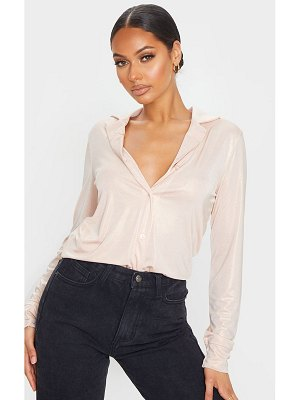 PrettyLittleThing rose gold metallic long basic shirt