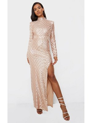 PrettyLittleThing rose gold patterned sequin high neck maxi dress