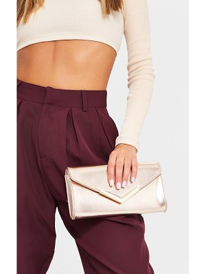 PrettyLittleThing rose gold pu clutch bag