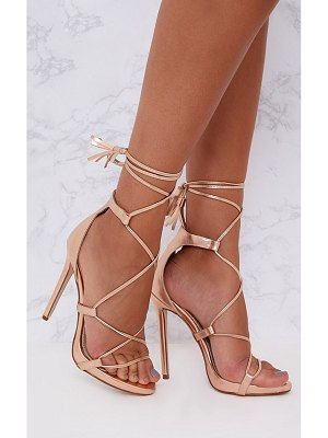 PrettyLittleThing rose gold pu tassel lace up heels