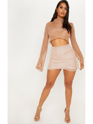 PrettyLittleThing rose gold ruched metallic mini skirt