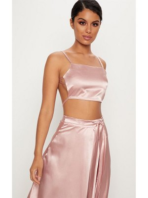 PrettyLittleThing rose gold satin backless strappy crop top