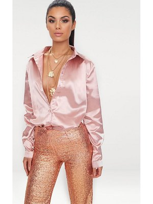 PrettyLittleThing rose gold satin button front shirt
