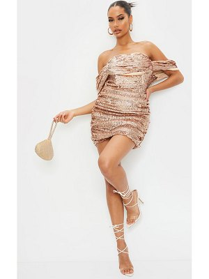 PrettyLittleThing rose gold sequin bardot bodycon dress