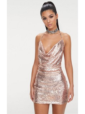 PrettyLittleThing rose gold sequin chain choker mini dress