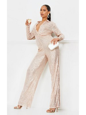 PrettyLittleThing rose gold sequin collar detail long sleeve jumpsuit