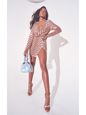 PrettyLittleThing rose gold sequin embellished deep plunge blazer style bodycon dress