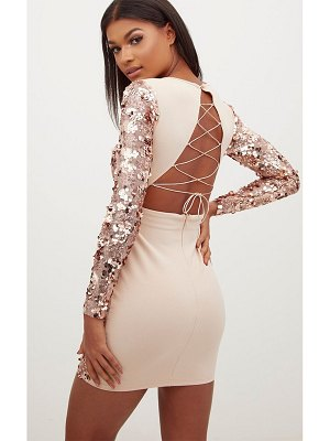 PrettyLittleThing rose gold sequin front long sleeve back tie detail bodycon dress