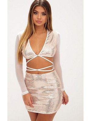 PrettyLittleThing rose gold sequin plunge front tie top