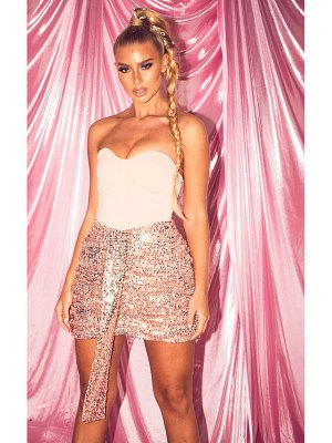 PrettyLittleThing rose gold sequin ruched mini skirt