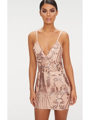 PrettyLittleThing rose gold sheer strappy panel sequin bodycon dress