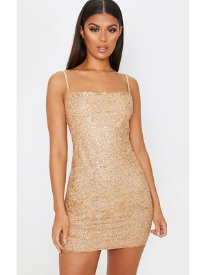 PrettyLittleThing rose gold strappy sequin glitter detail bodycon dress