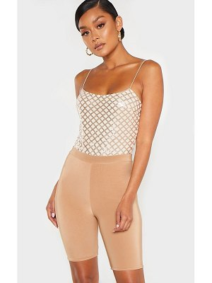 PrettyLittleThing rose gold strappy sequin straight neck bodysuit