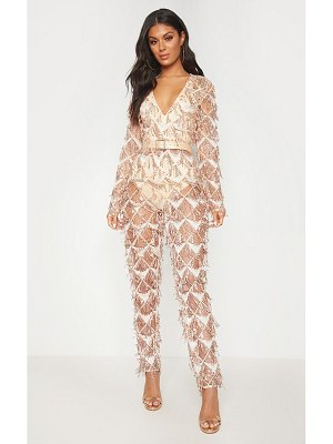 PrettyLittleThing rose gold tassel sequin plunge jumpsuit