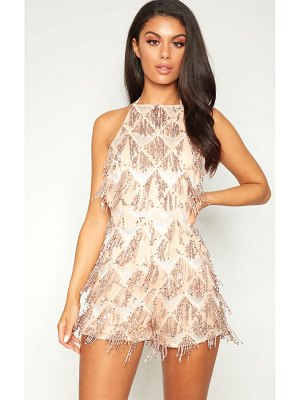 PrettyLittleThing rose gold tassel sequin romper