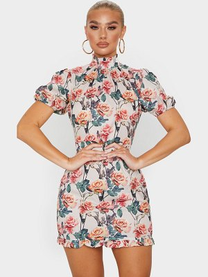 PrettyLittleThing rose print high neck short sleeve bodycon dress