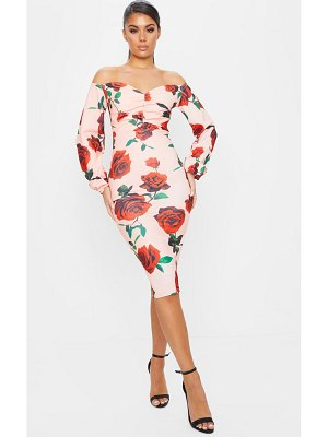 PrettyLittleThing rose print ruched bardot midi dress