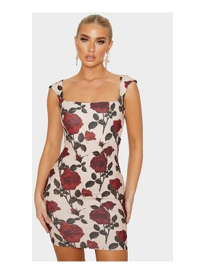 PrettyLittleThing rose print sleeveless square neck bodycon dress