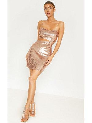 PrettyLittleThing rose sequin strappy cut out bodycon dress