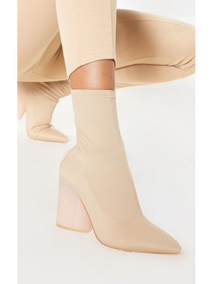 PrettyLittleThing round clear heel sock boot