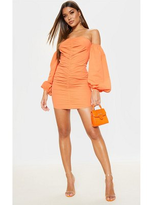 PrettyLittleThing ruched balloon sleeve bodycon dress
