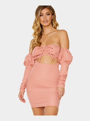 PrettyLittleThing ruched bust bardot cut out bodycon dress