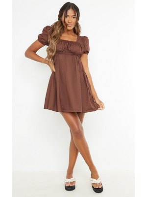 PrettyLittleThing ruched bust short sleeve square neck shift dress