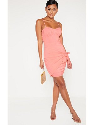 PrettyLittleThing ruched bust wrap over bodycon dress
