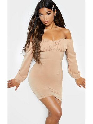 PrettyLittleThing ruched button detail bardot bodycon dress