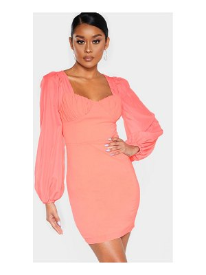 PrettyLittleThing ruched cup chiffon balloon sleeve bodycon dress