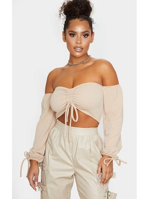 PrettyLittleThing ruched detail bardot long sleeve crop top