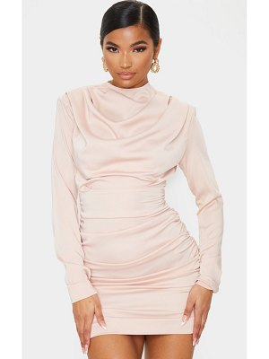 PrettyLittleThing ruched detail long sleeve bodycon dress