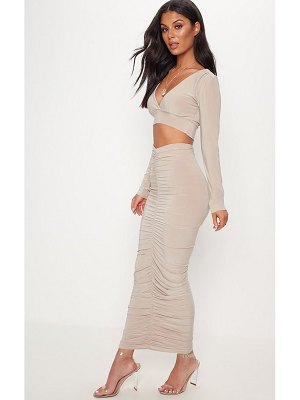 PrettyLittleThing ruched detail midaxi skirt