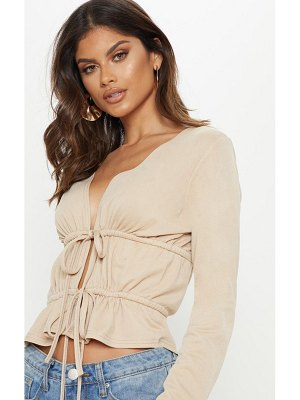 PrettyLittleThing ruched frill long sleeve crop top