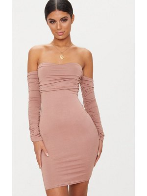 PrettyLittleThing ruched front ruched arm bandeau bodycon dress