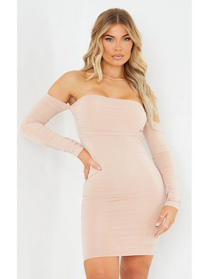 PrettyLittleThing ruched front ruched arm bardot bodycon dress
